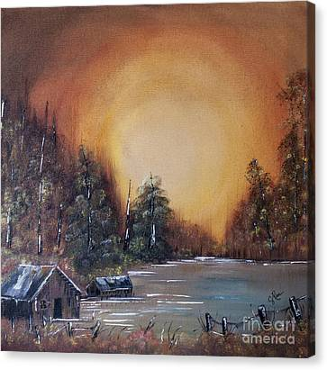 Bob Ross Canvas Print - Pennsylvania Shenango Dawn In Oil by Janice Rae Pariza