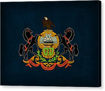 Pennsylvania State Flag Art On Worn Canvas Canvas Print by Design Turnpike
