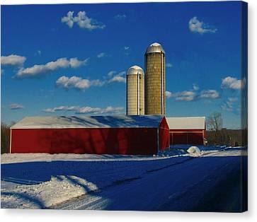 Pennsylvania Winter Red Barn  Canvas Print by David Dehner