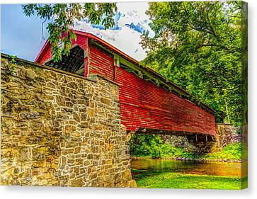 Pennsylvannia Covered Bridge Canvas Print by Tom Heywood