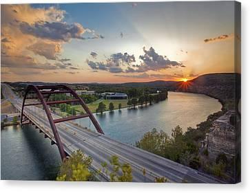Pennybacker Bridge At Sunset Canvas Print by Rob Greebon