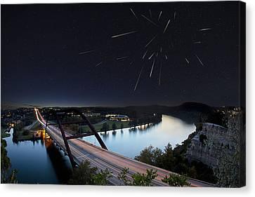 Pennybacker Bridge Austin Texas - Night Of The Meteors Canvas Print by Rob Greebon