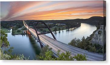 Pennybacker Bridge Panorama Austin Texas 3 Canvas Print by Rob Greebon