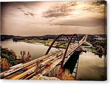 Canvas Print featuring the photograph Pennybacker Bridge Sunset by John Maffei