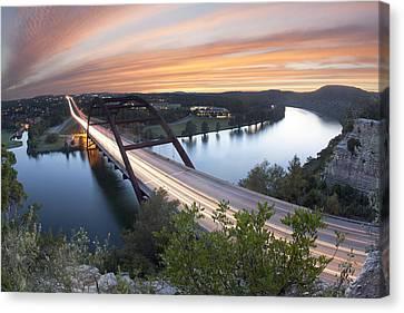 Pennybacker Bridge Sunset Near Austin Texas Canvas Print by Rob Greebon