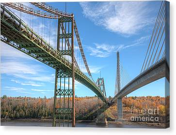 Island Stays Canvas Print - Penobscot Narrows Bridges by Clarence Holmes
