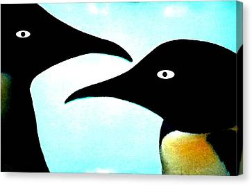 Canvas Print featuring the painting Penquin Love by Colette V Hera  Guggenheim