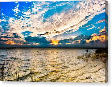 Canvas Print featuring the photograph Pensacola Bay Florida-golden Sun Rays Glorious Sunset Light by Eszra Tanner