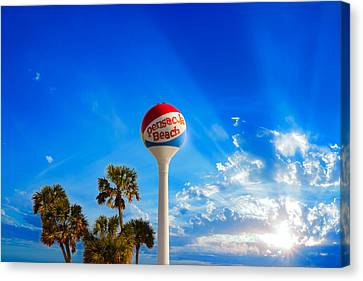 Pensacola Beach Ball Water Tower And Palm Trees Canvas Print