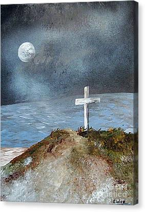 Canvas Print featuring the painting Pensacola Beach By The Light Of The Moon by Eloise Schneider