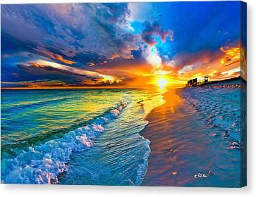 Pensacola Florida-beach Waves-sun Burst Shoreline Canvas Print by Eszra Tanner