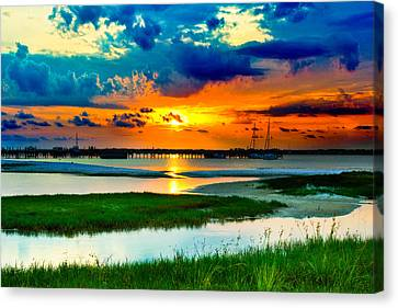 Canvas Print featuring the photograph Pensacola Florida Harbor-radiant Red Sunset-green Grass by Eszra Tanner