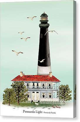 Pensacola Light House Canvas Print by Anne Beverley-Stamps