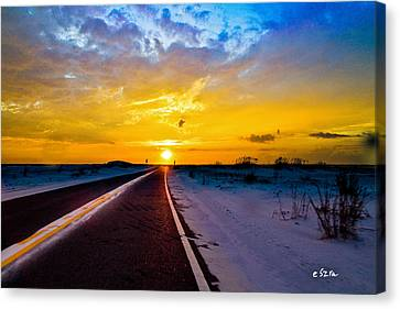 Canvas Print featuring the photograph Pensacola Navarre Florida National Sea Shore-driving Into Sunset by Eszra Tanner