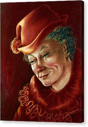 Canvas Print featuring the pastel Pensive Clown by Ethel Quelland