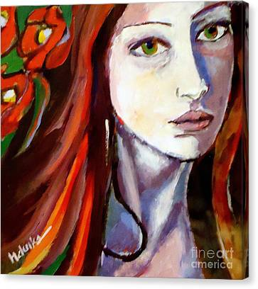Canvas Print featuring the painting Pensive Lady by Helena Wierzbicki