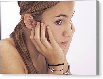 Chin On Hand Canvas Print - Pensive Teenage Girl by Science Photo Library