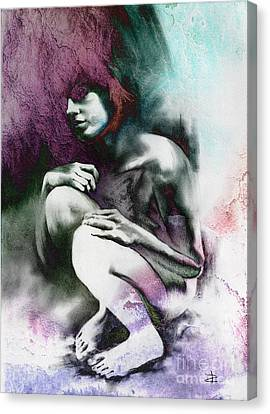 Canvas Print featuring the drawing Pensive With Texture by Paul Davenport