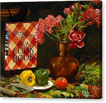 Canvas Print featuring the painting Peonies And Recipes by Rick Fitzsimons