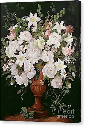 Peonies And Wisteria Canvas Print by Lizzie Riches