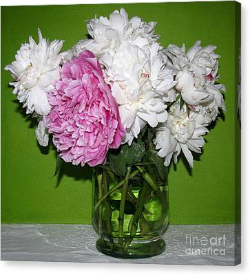 Canvas Print featuring the photograph Peonies Bouquet 3 by Margaret Newcomb