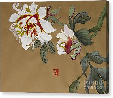 Peonies Chinese Watercolor Art Canvas Print