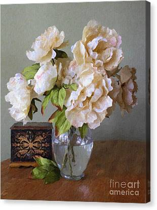 Peonies In Glass Vase Canvas Print