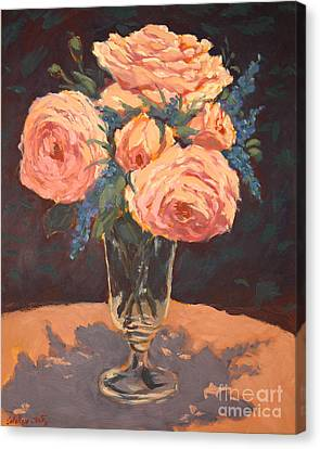 Peonies Canvas Print by Monica Caballero