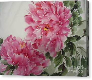 Canvas Print featuring the painting Peony-3-25 by Dongling Sun