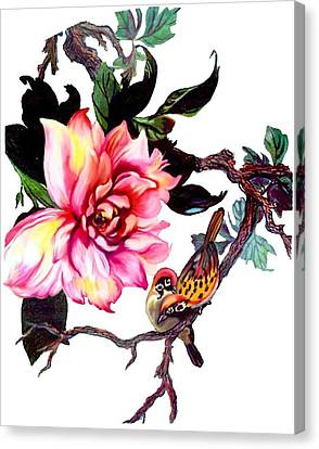 Peony And Birds Canvas Print