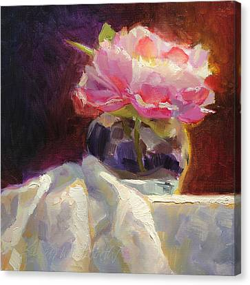 Peony Glow - Square Still Life Canvas Print by Karen Whitworth