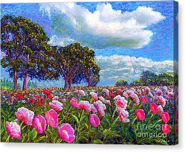 Impressionist Landscape Canvas Print - Peony Heaven by Jane Small