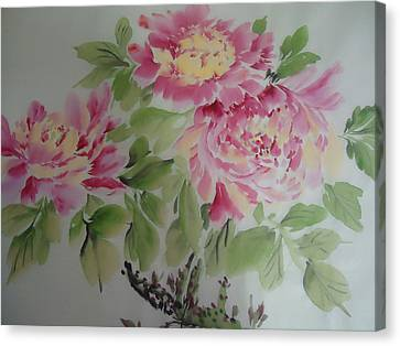 Peony015 Canvas Print by Dongling Sun