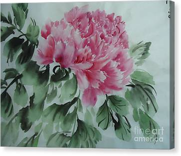 Canvas Print featuring the painting Peony425012-9 by Dongling Sun