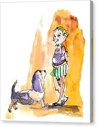 People And Their Dogs 01 Canvas Print by Miki De Goodaboom
