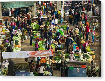People At A Traditional Town Market Canvas Print by Panoramic Images