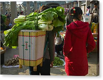 People At A Vegetable Market, Xizhou Canvas Print by Panoramic Images