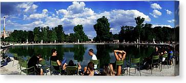People At Pond Side, Jardin Des Canvas Print by Panoramic Images