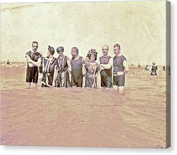 People At Sea, North Sea, The Netherlands Or Germany Canvas Print