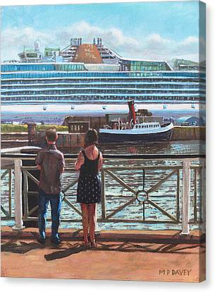 People At Southampton Eastern Docks Viewing Ship Canvas Print by Martin Davey