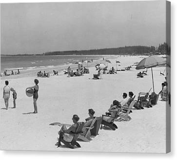 Sun Tan Canvas Print - People At The Beach by Retro Images Archive