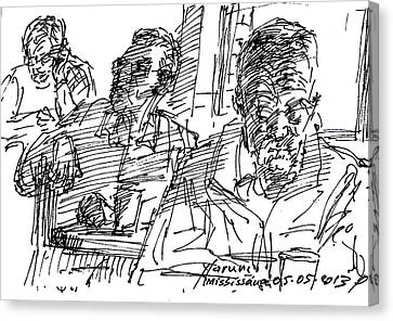 People At The Cafe Canvas Print by Ylli Haruni