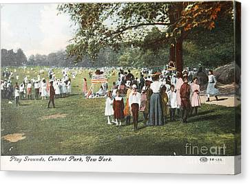 People At The Playground In Central Park Circa 1910 On Ancient P Canvas Print by Patricia Hofmeester