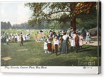 People At The Playground In Central Park Circa 1910  Canvas Print by Patricia Hofmeester
