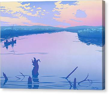 abstract people Canoeing river sunset landscape 1980s pop art nouveau retro stylized painting print Canvas Print by Walt Curlee