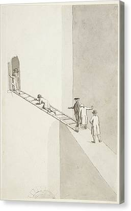 People Climbing Across A Gap Canvas Print by British Library