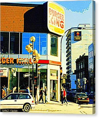 People Enjoy Beautiful Downtown Sainte Catherine Burger King Peel Scene By Hotel Comfort Suites Canvas Print by Carole Spandau