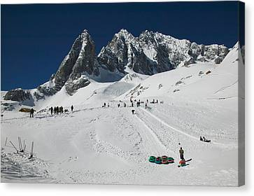 Enjoyment Canvas Print - People Enjoying Snow Tubing At Jade by Panoramic Images
