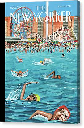 Roller Coaster Canvas Print - People Enjoying Themselves At Coney Island by Mark Ulriksen