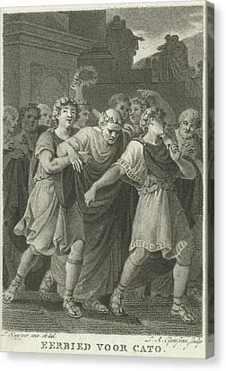 People Go To The Feast In Honor Of Cato, Print Maker Canvas Print by Lambertus Antonius Claessens And Jacques Kuyper